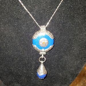 Ethnic Tibetan Blue Lapis Pendant Necklace